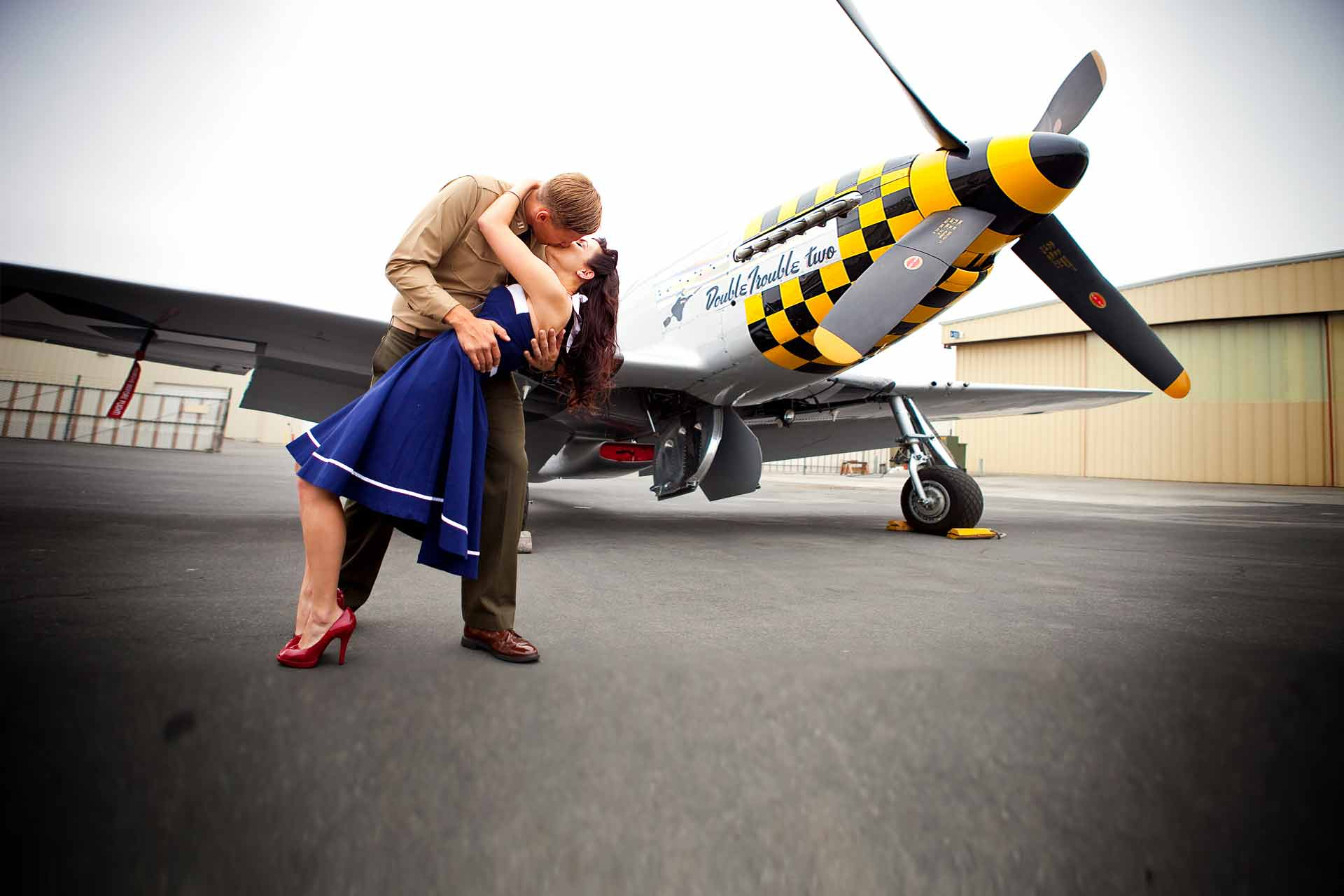 David Champagne Photography Vintage Military Engagement Session Navy Propeller Airplane Virginia Beach